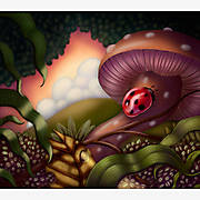 Lady bug and landscape